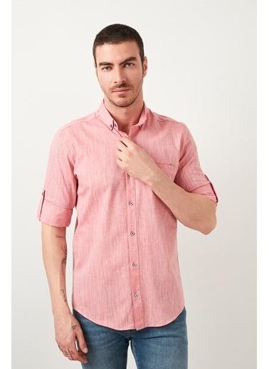 Buratti Buratti Düğmeli Yaka Erkek Gömlek CF21S111538 Kırmızı